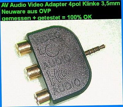 Kamera Audio Video Adapter🎵4pol Mini Klinke 3,5mm⇒3x Cinch RCA Cynch Chinch
