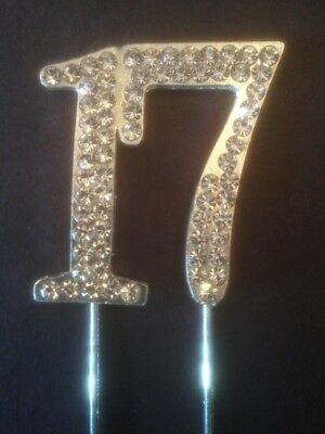 17Th Birthday Diamante Cake Topper Decoration Silver Seventeen 17 Th Uk Seller