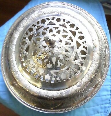 Vintage Silver Flower Frog Art Deco Beautiful Ornate Flowers Silverplate EX
