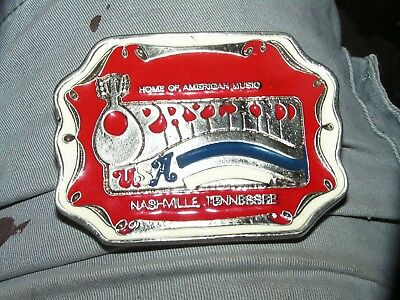 Vintage Opryland Home Of American Music Belt Buckle Red White And Blue Enameled