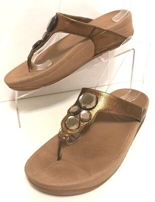 10fefecb7c00 Fitflop Womens Toning Thong Flip Flop Sandals Bronze Brown Leather Jewels  Size 7