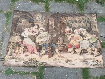 Vintage Large Tapestry Wall Art - Historical Mediaeval possibly French Scene