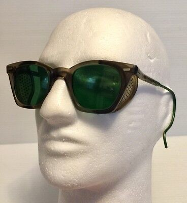 Vintage Safety Glasses  Green Lens Sunglasses Motorcycle Goggles