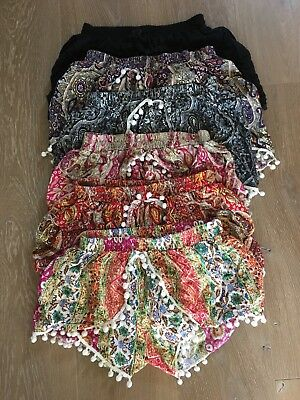 Lot Of 6 Authentic Balinese Yoga Pom Pom Shorts With Free Yoga Pants!