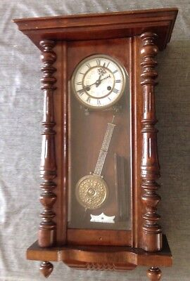 Vienna Clock Three Glass Panels Case 70 X 40 X 20cm Untested For Repair Or Parts