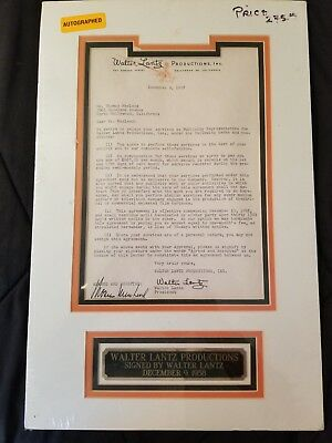 Walter Lantz Signed Letter from 1958 to Thomas MacLeod matted & ready to frame