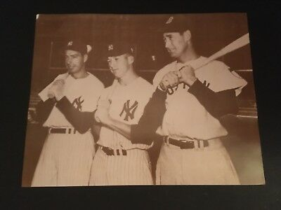 Mickey Mantle Joe Dimaggio Ted Williams 11X14 Photo 1951 Yankees Red Sox