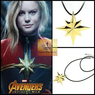 Avengers Infinity War Captain Marvel Necklace Gold Color Movie Cosplay Jewelry