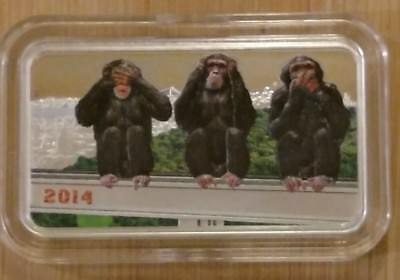 2014 Tanzania 1000 Shilling - THREE WISE MONKEYS 1oz. Silver Proof Coin  w/ COA