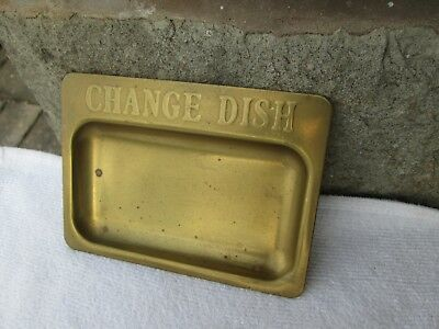 "BEAUTIFUL VINTAGE SOLID BRASS CHANGE DISH/ TRAY (5.5"" LONG x 4"" WIDE)"