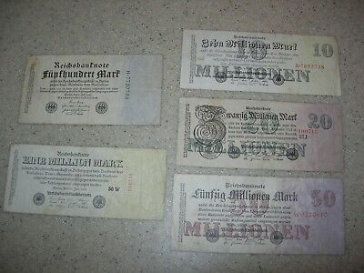 Germany 1922-1923 5 Hyper Inflation Banknotes 500 Marks To 50 Million Marks