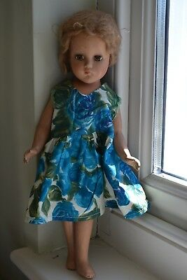 ANTIQUE VINTAGE STUNNING 1940s TEENAGE PAPER MACHE DOLL 14.5""