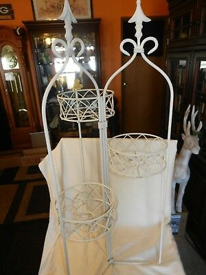 Vintage White Wrought Iron Flower Pot Stand Ornate 3' Tall Holds 4 Pots