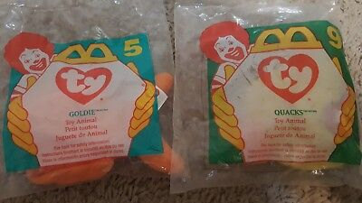 Goldie Fish And Quacks Duck  TY Beanie Baby 1996 McDonald's Happy Meal Toy NIP