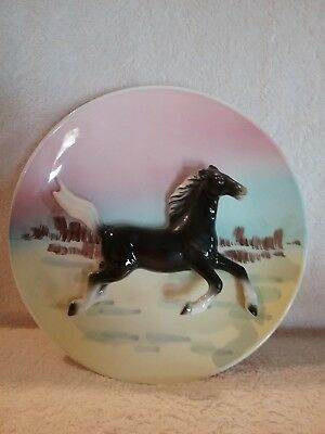 Vintage Hand Painted 3D Horse Wall Plate  -  Horse Collectible