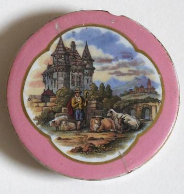"Pratt Ware (Pot Lid) No 377 Trinket Box Lid ""medieval Castle (Rare As Found)"