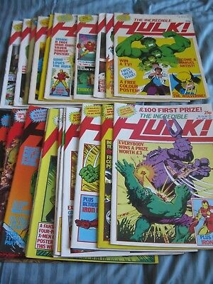 Incredible Hulk 1 - 22 UK reprints from 1982 - all with THEIR GREAT POSTERS