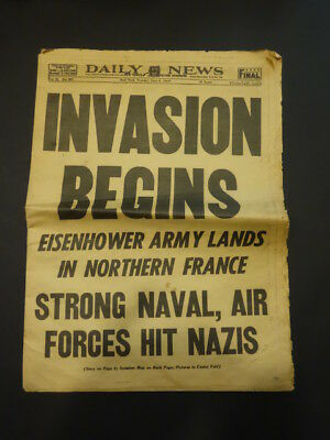 New York Daily News June 6 1944 Invasion Begins Newspaper Normandie D-Day