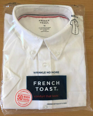 French Toast School Uniform Short Sleeve Oxford Shirt - White - Brand New!