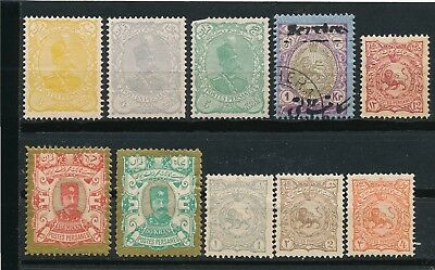 Persia 10 EARLY ISSUES (1898-1911) MH, MNH & USED:INCL #99-100, #115-7, O38