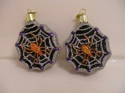 2 Old World Christmas Glass Ornaments - Halloween SPIDER WEB