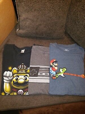 Pop Culture T Shirts Gamers lot mario nintendo L and XL #3