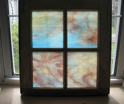 Antique Stained Glass Window Mullions Wine Blue Cream Abstract 16-1/2 x 17-1/2