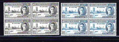 Turks & Caicos Islands #90-91  1946  Peace Issue   Mint  Vf Nh  O.g  Block Of 4