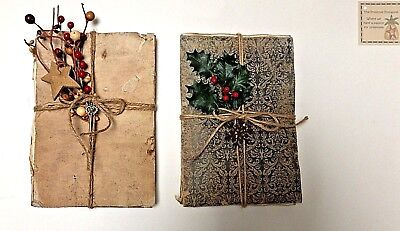 Primitive Handmade Journal Tuck Country/Farmhouse/Colonial Beige/Pip Berries