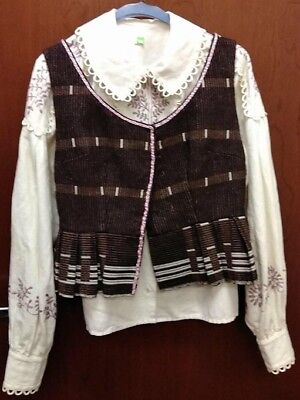 Complete Lithuanian National Costume Dress Crown Skirt Vest Blouse Apron Tauts