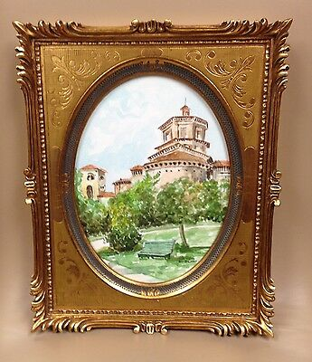 Authentic Rectangular Italian Picture Frame w/Oval Old Style Print Castle & Park