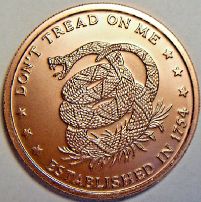 1 Oz Copper Round 999 Fine BU Dont Tread On Me The Price of Liberty From Tube
