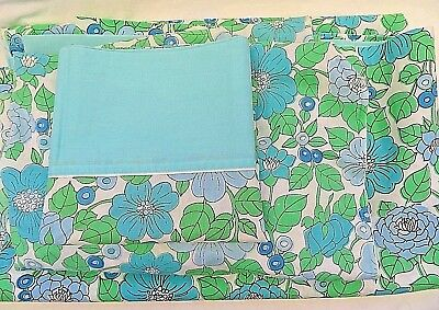 Vintage Sheets Set Twin Kentshire Flowers Blues Green White Good Condition