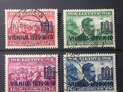 Scott #310-313 1939 Lithuania Overprint Stamps Used