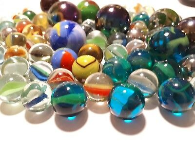 Lot Antique Vintage Glass Marbles German? Blue Green Amber Glass With Bubbles