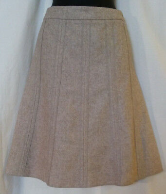 Merona Womens 8 Midi A-line Tailored Circle Skirt Beige Deconstructed Wool Lined