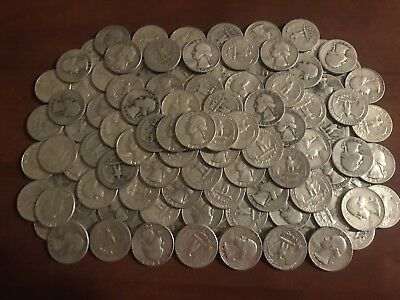 *** Huge Lot *** 160 Washington Quarters *** 90% Silver *** Four Rolls ***