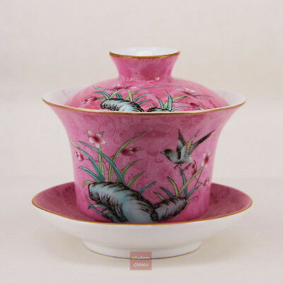 Hand Painted China Jingdezhen Pa Hua Famille-rose Porcelain Gaiwan Tea Cup 120cc