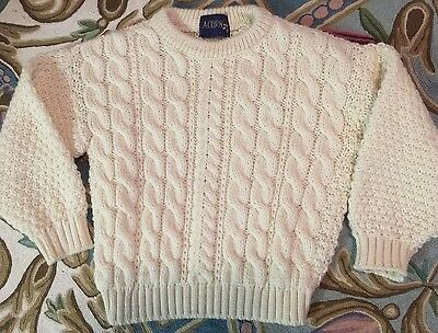 New Acorn (UK) Ivory New Wool Kids Pullover Cabled Sweater sz 6-8 ?