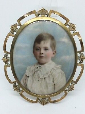 Exquisite 19th Century Portrait Miniature Painting Of A Young Boy