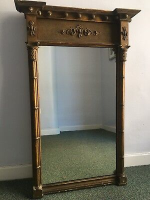 Early 18th century Georgian Regency carved giltwood architectural mirror c.1730
