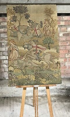 Large Antique Vintage St George and the Dragon Tapestry