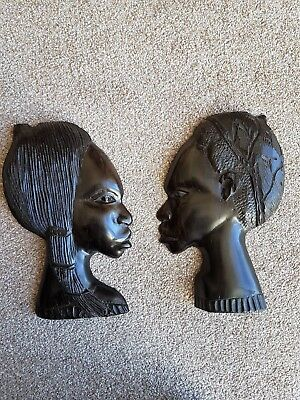 Ebony Man Woman Tribal Art Carved Antique Head Profile Wall Hanging Pair (2)