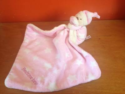 Mothercare Baby Pink Star Bedtime Bear Blankie Comforter Soft Toy