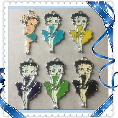 Lot Of 6 Vintage ❤️ Betty Boop ❤️ Metal Charms,Brand New #27