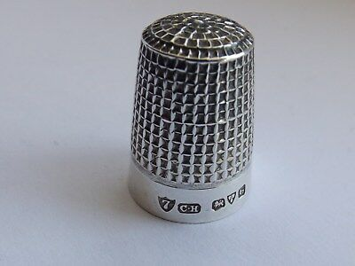 Charles Horner Solid Silver Thimble Waffle Pattern Chester 1919