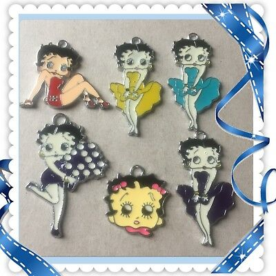 Lot Of 6 Vintage ❤️Betty Boop❤️  Metal Charms,Brand New #28