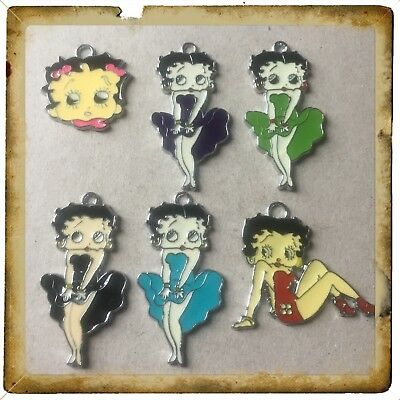 ❤️ Lot Of 6 Vintage Betty Boop  Metal Charms,Brand New #30 ❤️