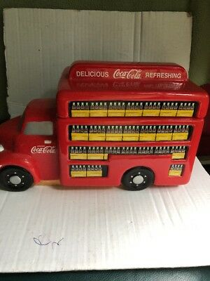 Coca Cola Coke Cookie Jar Gibson Delivery Truck Vehicle Bottles Never Used Retro