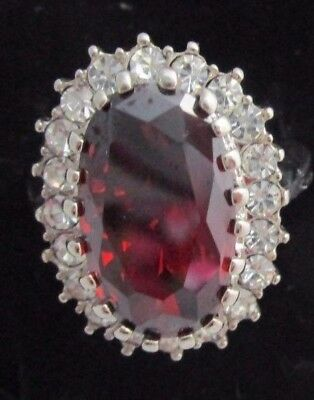 Vintage Silver Tone Cocktail Ring with Large Garnet & Rhinestones  Size 10